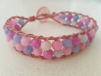 "New hand made bracelet. Variegated pink agate gemstones on dusky pink leather. Fit up to 7½"" wrist"