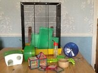2 storey hamster cage & accessories