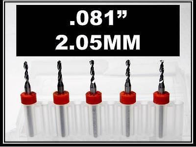 .081 - 2.05mm - 18 Shank Carbide Drill Bits Five Pcs Wood Plastic Metal Cnc R