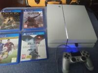 sony playstation 4 white with 4 games