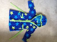 Boys blue and green hooded dressing gown Disney Mickey Mouse age 3-4 years