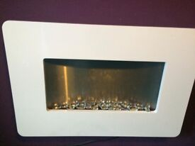 White electric wall fireplace