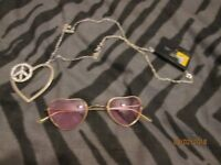 60s HIPPY CHICK ITEMS ROSE HEART GLASSES AND PEACE NECKLACE PARTY OR HEN DO
