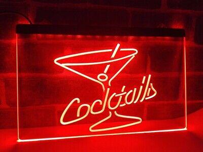 Cocktails LED Neon Bar Sign Home Light Up Drink Pub cocktail custom...