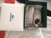 Lacoste baby soft bottom trainers size 2c