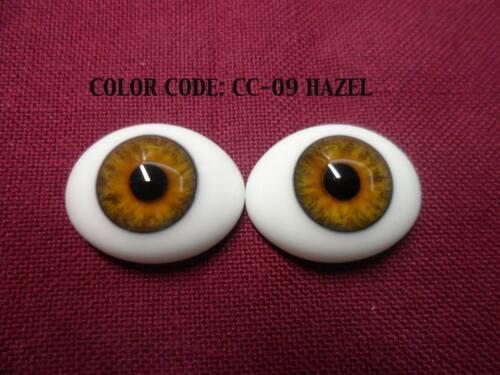 Pabol 20 MM pabol Glass Eyes Hazel Oval Flatback for reborns