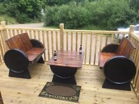 Oak whiskey barrel garden furniture for patio bar pub