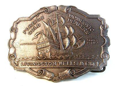 Vintage Foreign Domestic Gold Dealers Livingston Wells   Co   Belt Buckle