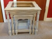 A lovely set of 3 tables, painted with Autentico Vintage chalk paint in 'Almond'.