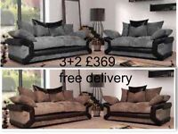 3+2 seater sofa in fabric + leather black grey brown beige free delivery