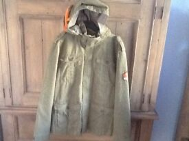 NEW BOYS H&M JACKET AGE 13-14 YEARS - GREEN WITH DETACHABLE HOOD, COTTON CANVAS MATERIAL