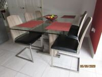 Modern Dining / Kitchen Solid Glass Table + 6 chairs