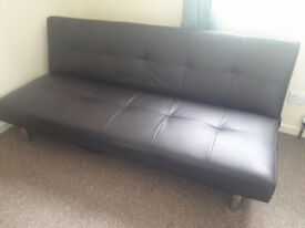 BROWN FAUX LEATHER SOFA BED FOR SALE £55