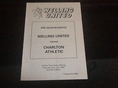 Welling United v Charlton Athletic programme 1996