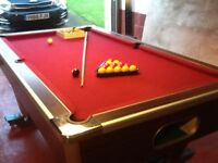 Slate bed snooker table on wheels