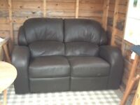 Brown 2 seater reclining sofa