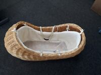 White Wicker Mosses Basket With Gliding Stand