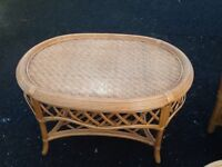 Wicker coffee table & stool