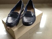 Clarks ladies navy blue loafers, UK size 5.