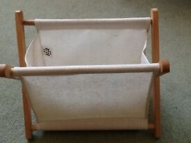 Canvas magazine/newspaper rack in cream.