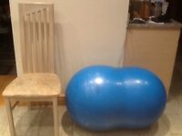 Ready inflated Swiss ball-large bean shape-at present 92cm x65cm and can get larger-for yoga & play