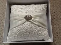 Boxed Very pretty Ivory lace ring cushion as new condition