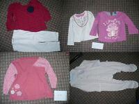 Bundle of 30: body- & sleepsuits, tops, dresses, leggings, cardigans for girl 12-18mths. Free socks.