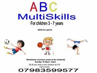 Childrens multiskills football dance and rugby preparation