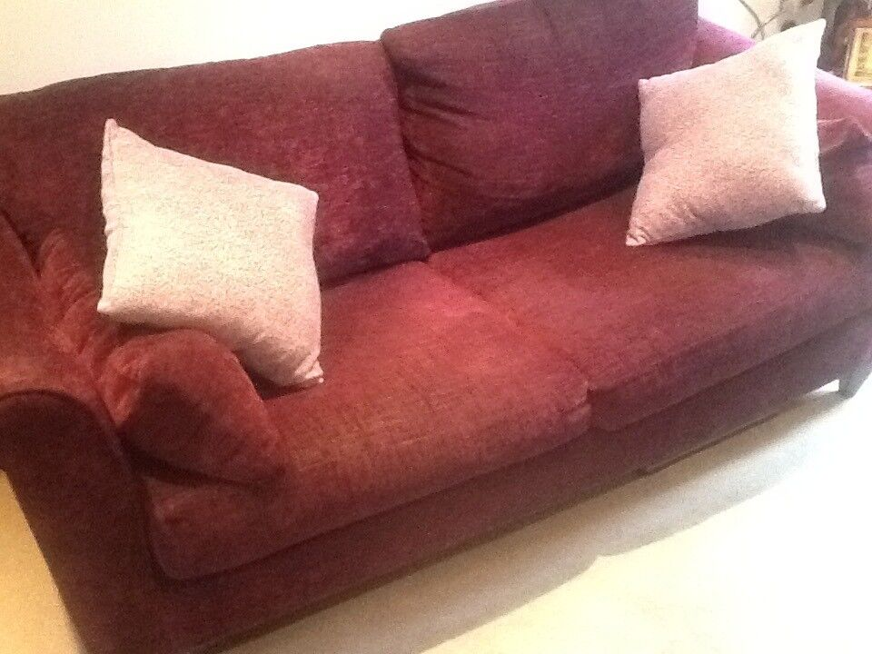 Two Seat Sofa And Matching Chair Plum Color