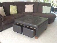 Large faux leather footstool