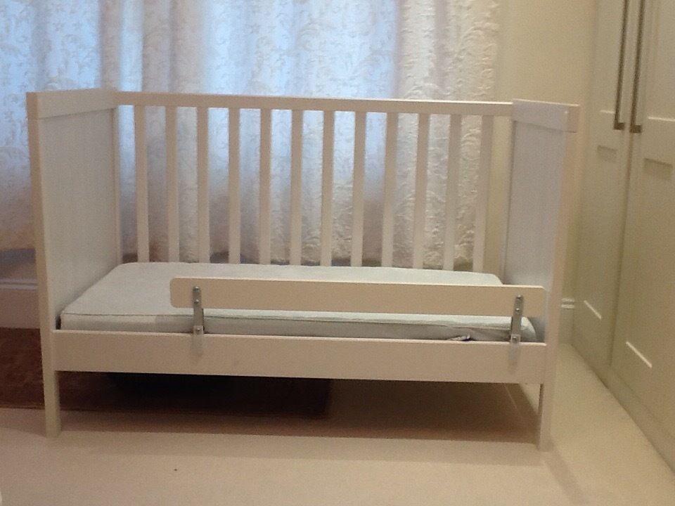 Baby Cot IKEA Sundvik White With Vysa Vinka Mattress Plus Support Vikare Guard