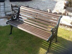 1.2m wrought iron and Scandinavian Redwood Bench