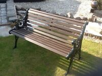 1.2m wrought iron and Scandinavian Redwood Bench