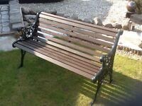 Cast iron and Scandinavian Redwood Bench