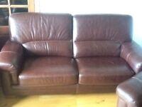 3 piece brown real leather suite diamanté