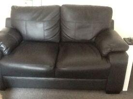 Leather 2 seater sofa, black