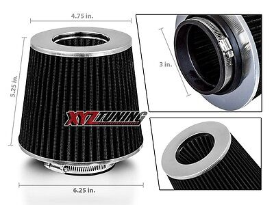 """3"""" BLACK Performance High Flow Cold Air Intake Cone Replacement Dry Filter"""