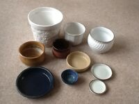 ASSORTED CERAMIC PLANTERS AND SAUCERS