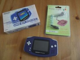 Gameboy Advance Console Boxed as New with New Worm Light