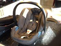 Cybex Aton blue denim car seat, car base, rain cover + bag