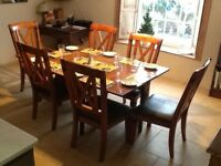 Dropleaf dining table and six chairs