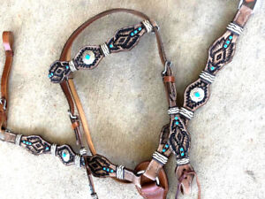 WESTERN HORSE TOOLED LEATHER TACK SET W/ RAWHIDE BRAIDING BRIDLE BREAST COLLAR