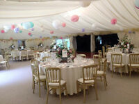 Paper lantern pom poms for wedding marquee etc.