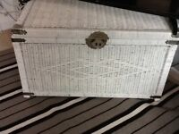 """White 1 Large White Wicker Ottoman Storage Chest 35.5"""" inches wide 20"""" depth and 21"""""""
