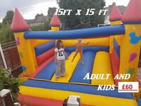 Commercial 15ft x 15ft Bouncy castle.. 12mth old 12mth pipa test
