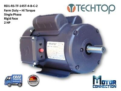 2 Hp Electric Motor Farm Duty 1800rpm Single Phase Rigid Base 145t