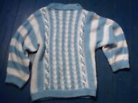 Vintage blue and white knitted jumper