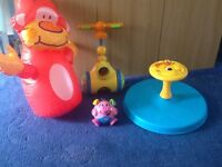 Fisher price sit and spin , vibrating pig, walk and shoot ball toy and inflatable monkey