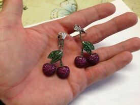 LARGE HEAVY 18K SOLID GOLD BESPOKE HAND MADE ONE OFF - DIAMOND GARNET RUBY CHERRY EARINGS WAS £10K