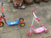 Any scooter £10 each-Fireman Sam and Diney Princesses-these are for 3yrs olds plus